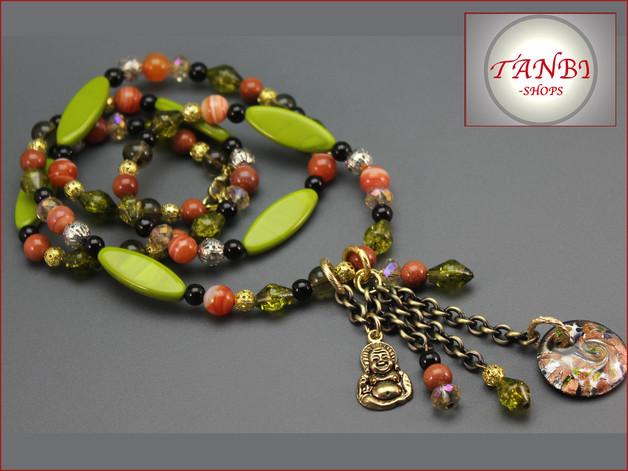 Kette, Buddha, grün, orange, braun, gold, 24.99