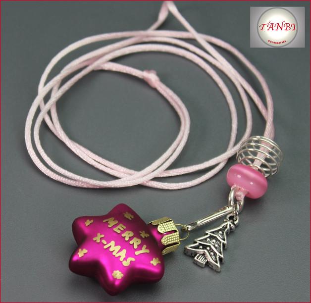 Weihnachten Kette Weihnachtskette Stern Baum Weihnachtsbaum merry x-mas rosa pink