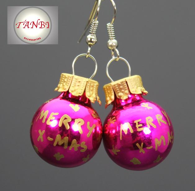 Weihnachtsohrringe-Weihnachten-Ohrringe-Advent-Nikolaus-Wichteln-Geschenk-merry-x-mas-Weihnachtskugeln