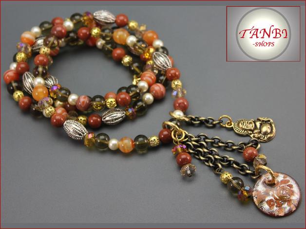 Kette, lang, Buddha, orange, braun, 24.99