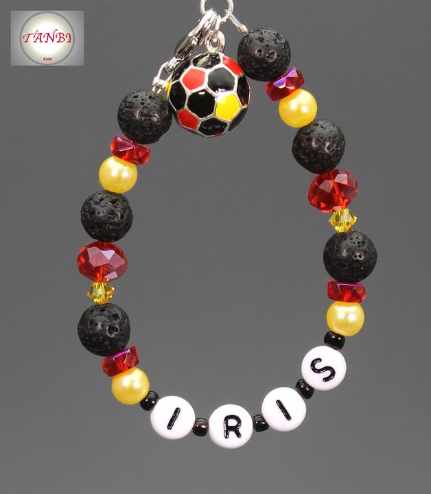 Fußball, Armband, Name, Namensarmband, Deutschland, schwarz-rot-gold, Kinderarmband, 13.50