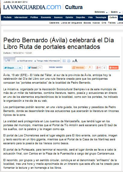 La noticia en La Vanguardia