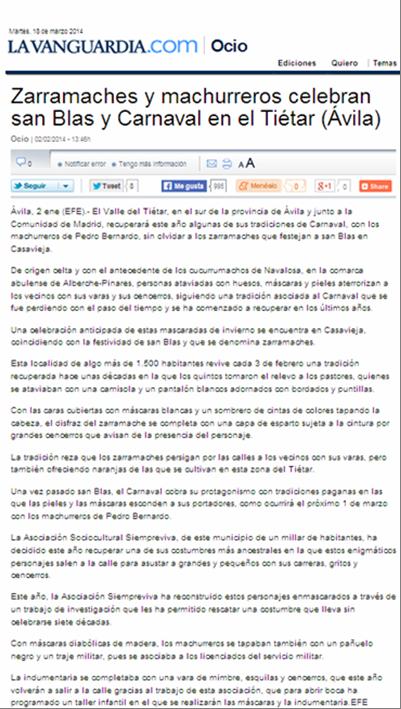 Diario La Vanguardia (versión digital) 18 de febrero de  2014