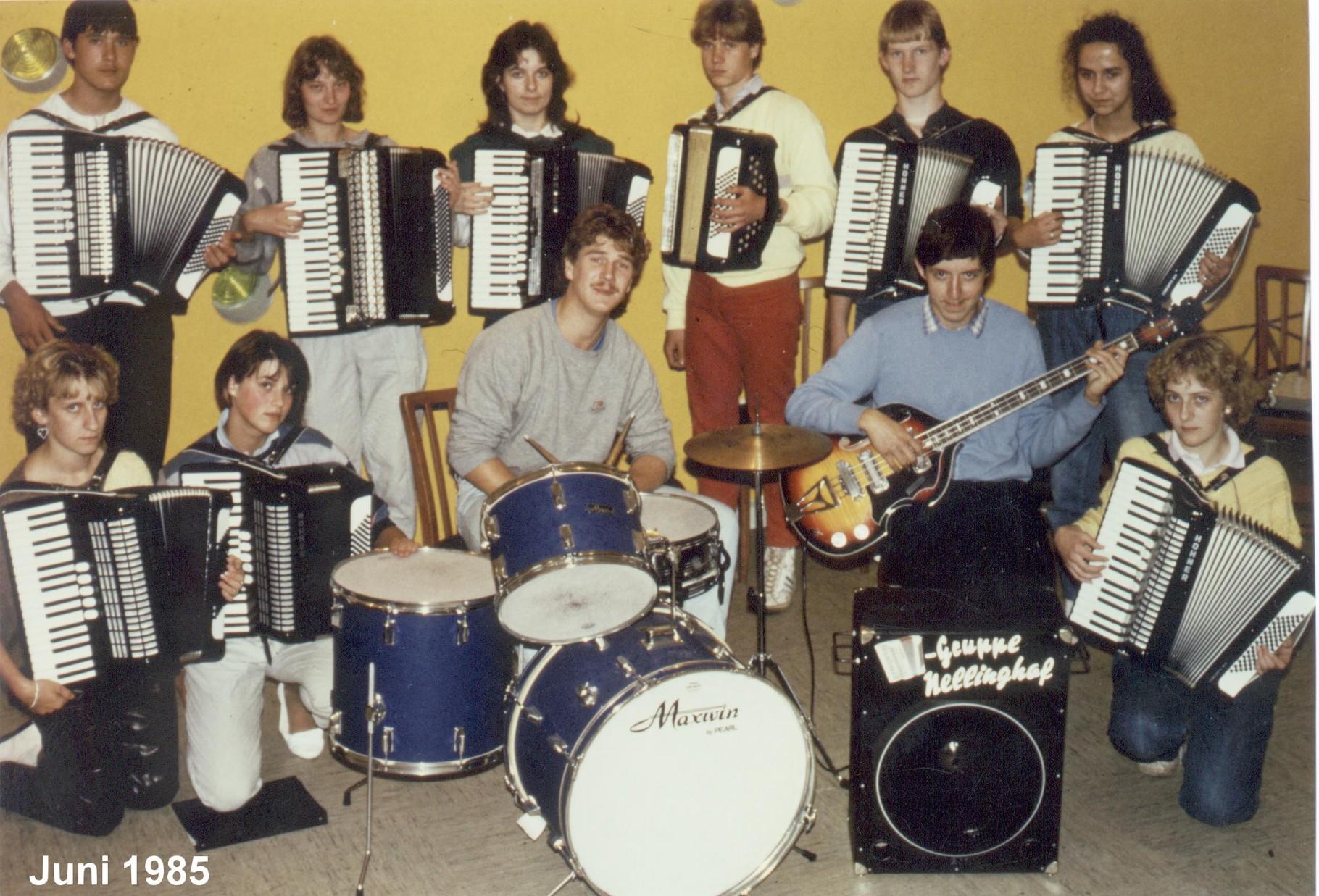 Gruppenbild 1985 mit Drummer aus Wallenhorst