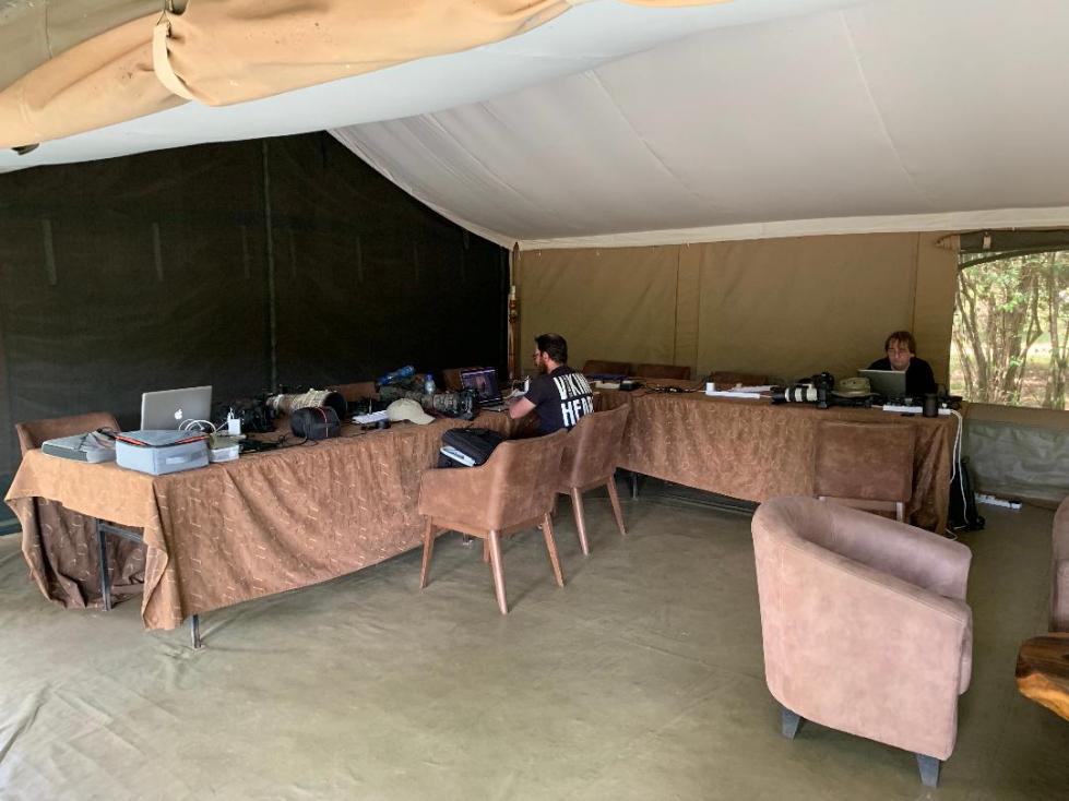 Le coin travail dans la tente relaxation