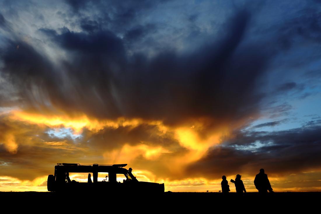 Lever de soleil à la sortie du camp