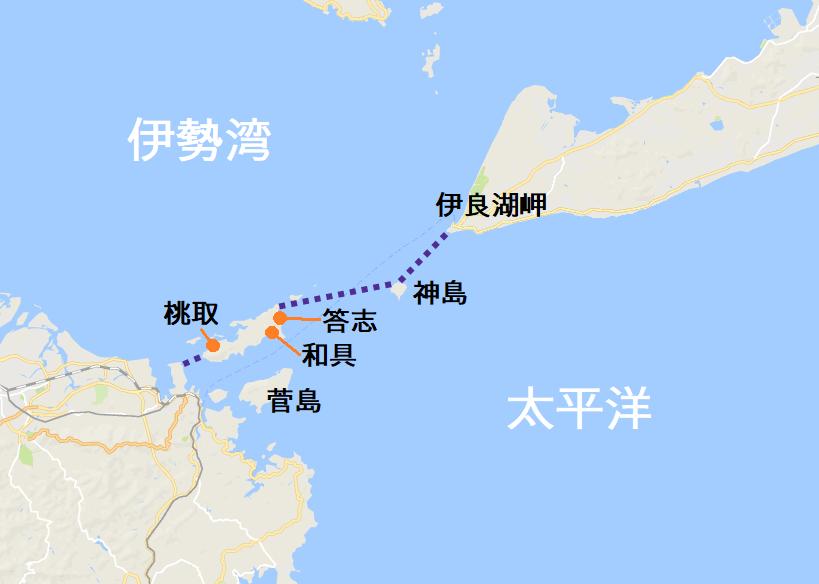 答志島周辺の地図。伊良湖岬、神島、答志島、鳥羽市本土を結んだ線が伊勢湾と太平洋の境目。
