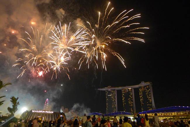 Singapur Marina Sands Bay Feuerwerk Nacht