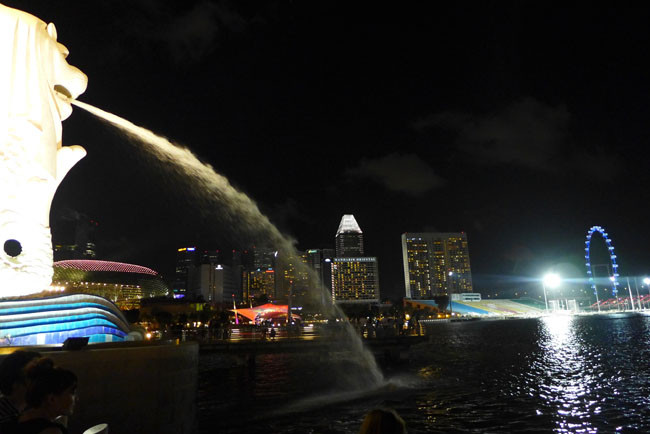 Singapur Merlion Nacht