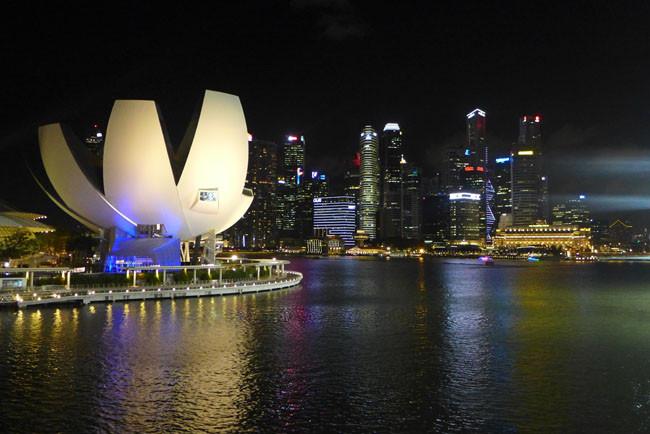 Singapur Skyline Nacht