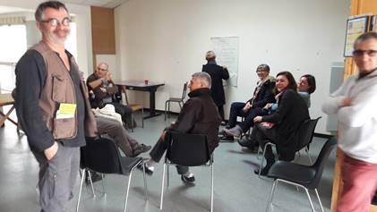 Un groupe travaillant sur les pistes d'actions à mener sur le site de la Ferme de la Vergne