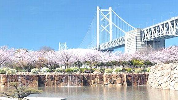 瀬戸大橋記念公園 瀬戸大橋と桜