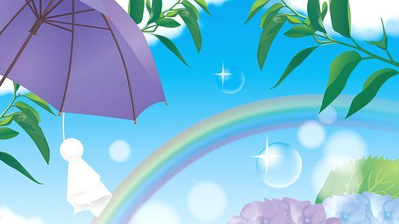 6月 梅雨の雨上がりの虹とてるてる坊主