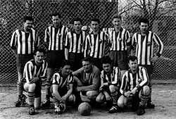 Diese Männer bildeten 1961 die erste Fußballmannschaft bei Traktor Gorknitz.