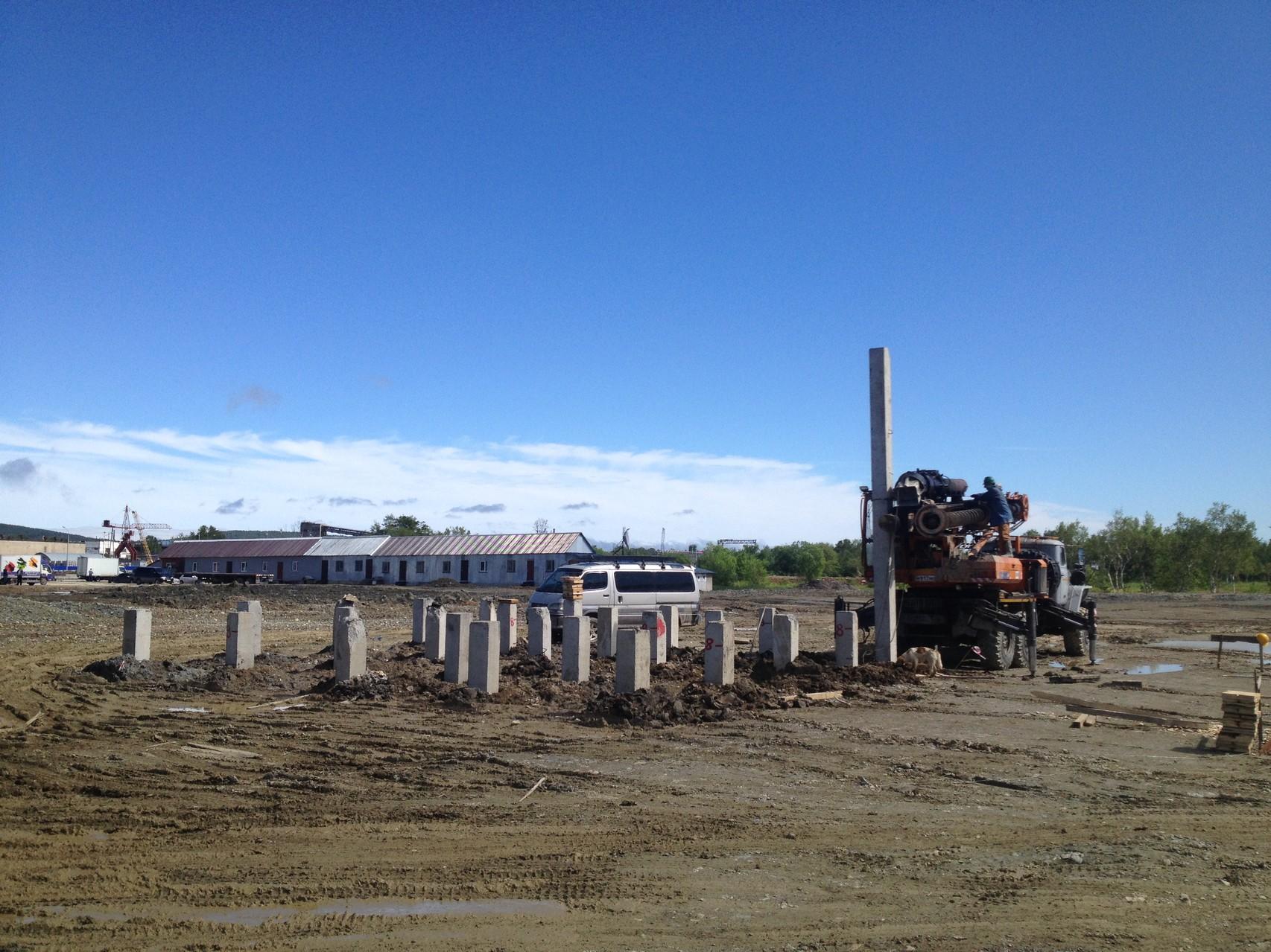 Свайное поле под бетонно-растворный узел, 30х30, 8м, 25 свай