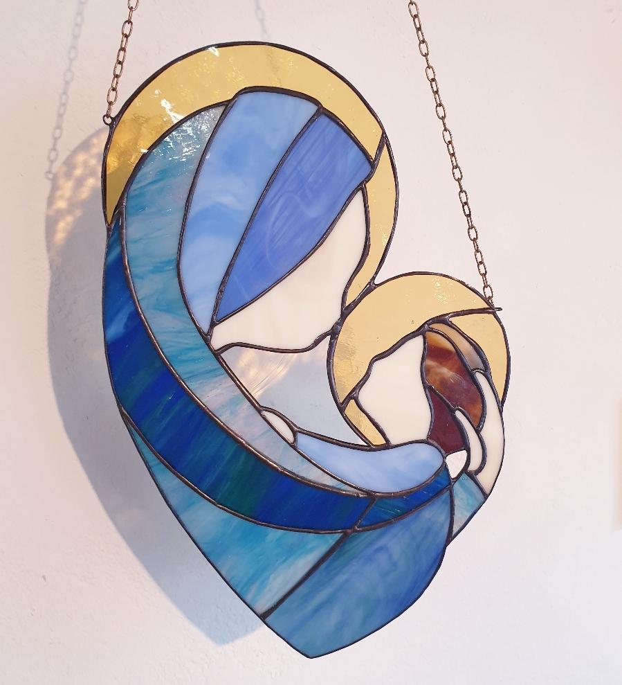 Maria met baby Jezus 30 cm blauwteinten