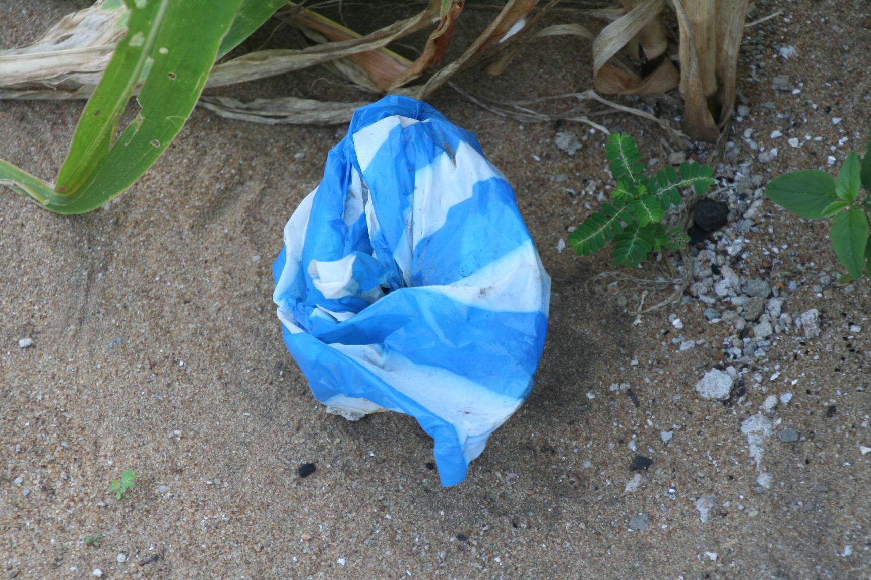 2. Plastiksäcke werden achtlos weggeschmissen.