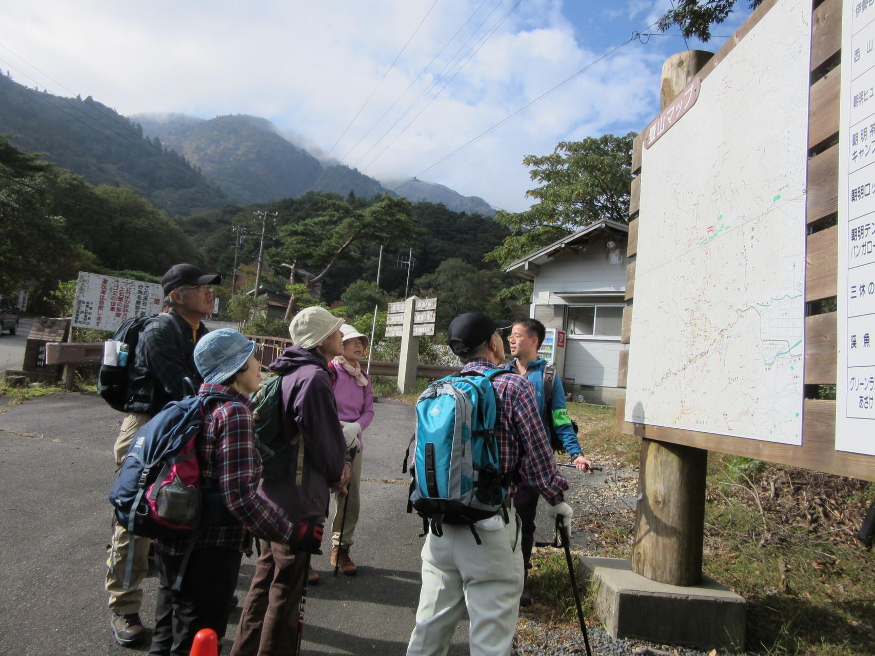 羽鳥峰源流までの行程を確認