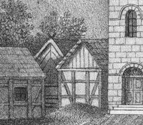 """Die """"1. Schule"""" auf einer Lithographie von 1832 (ganz links)."""