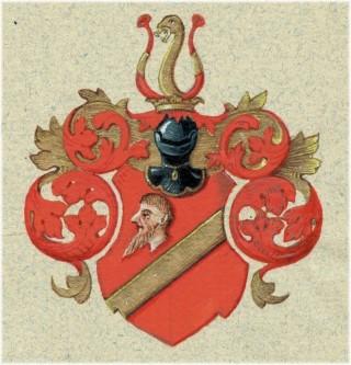 Wappendarstellung des Bürgergeschlecht STRAUPITZ. Originalgouache von Adolf und Isodore Rachlitz, Bautzen um 1890. (Sammlung A. Urspruch)