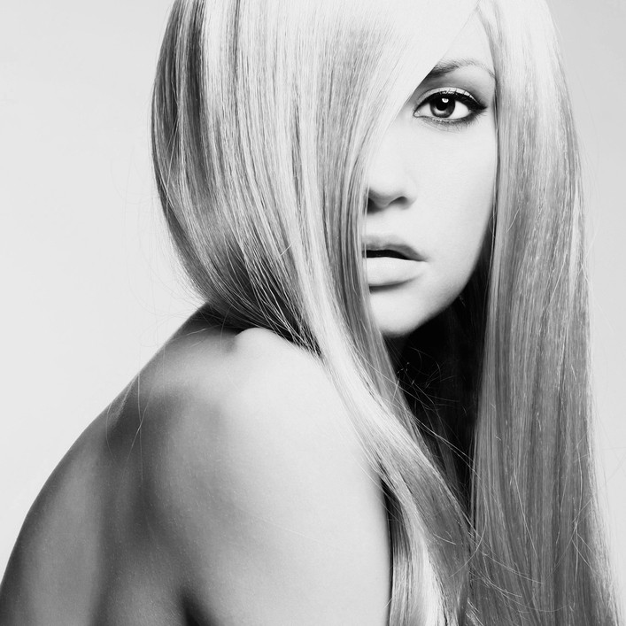 Wonderful Blond Woman in greyscale