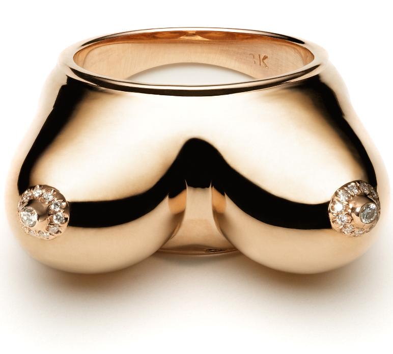 Nora Kogan Diamond Nipple Ring for Finger