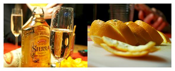Tequila Gold mit Zimt und Orangen in Kombination mit Rosé-Sekt - ein super Auftakt für den Jahreswechsel