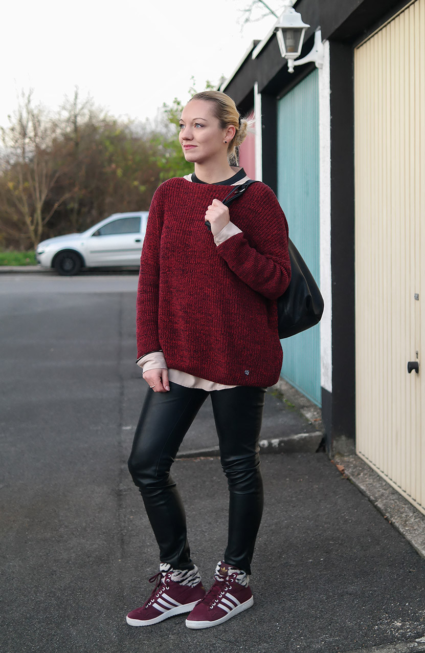 Adidas Cozy Winter Look | Pro Conference Hi Sneaker | Pepe Jeans Bordeaux Sweater | hot-port.de | 30+ Style Blog