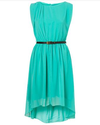 Türkisfarbenes Kleid mit leichtem Vokuhila Ansatz