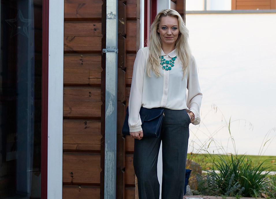 Streetstyle Look | Mein Pre Christmas Business Outfit | Hose von Madeleine | Bluse von Vero Moda | Tasche Vintage | Kette von Review