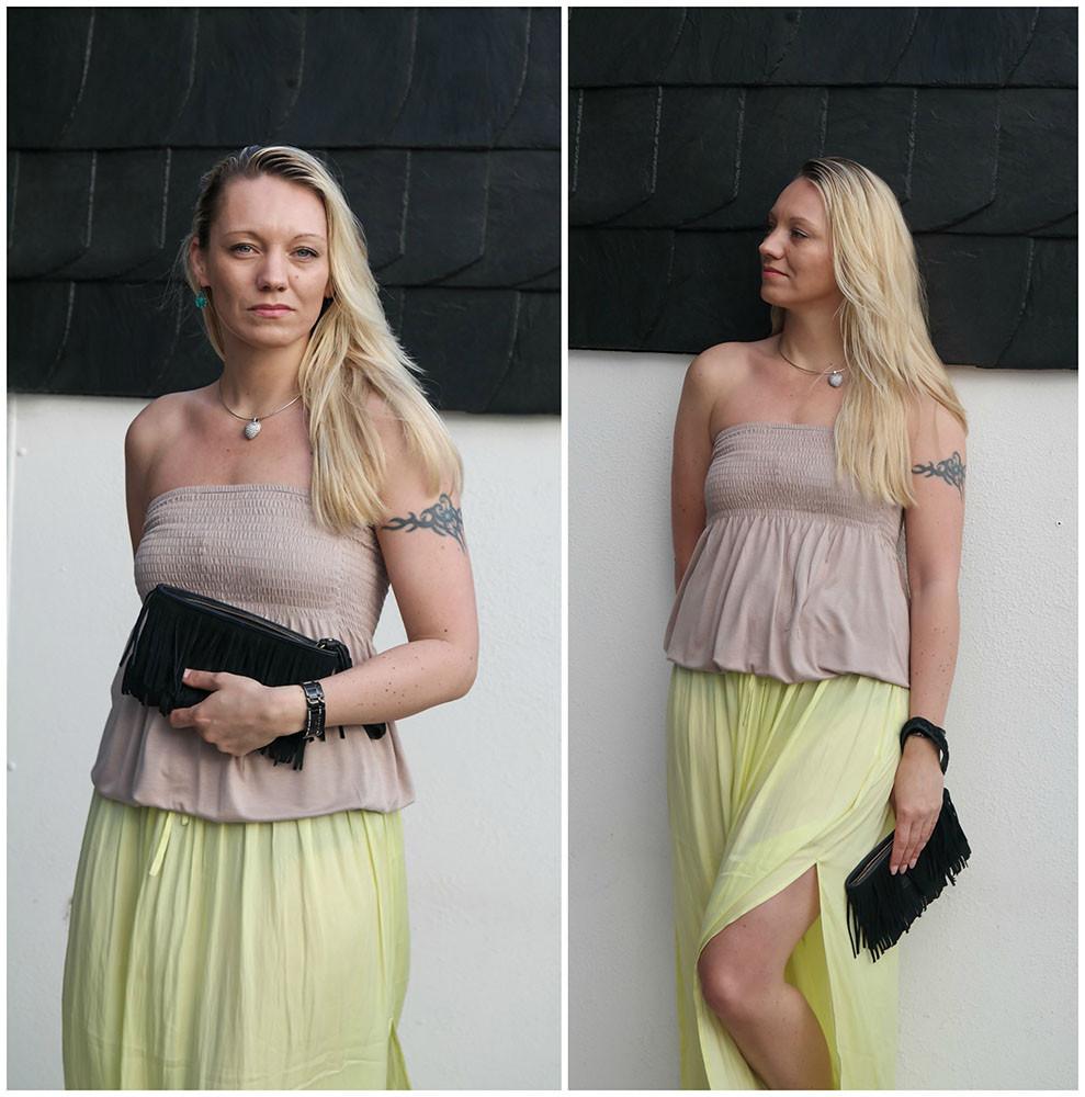 Outfit Maxirock   Mein erster Sommerlook mit meinen neuen Vidorreta Espadrilles, Vila Elina Maxirock & Minnetonka Fransen Clutch