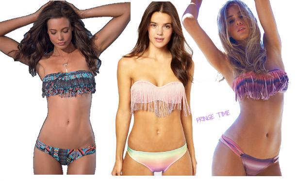 Strandgut | Tragbare Strandmode 2013 | Fringe Fransen Bikini Trends 2013 | Santorini Sunrise Dolly Fringe | L-Space City Tribe Fringe | Asos Pastell Ombre Fringe Bandeau