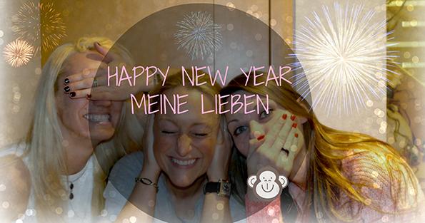 Ein frohes neues Jahr 2014 wünscht Euch Eure Franny Fine und das three monkey team | drei Affen | Spaß | Fun
