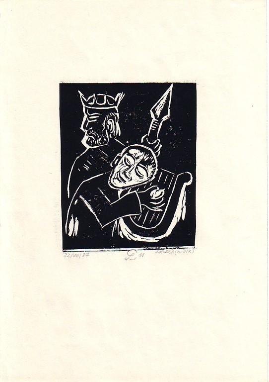 1987  David vor Saul (Variation zu Bild von O.Dix) Linolschnitt