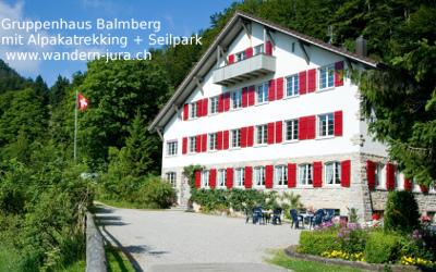 Gruppenhaus Jura Alpakatrekking Seilpark Wandern