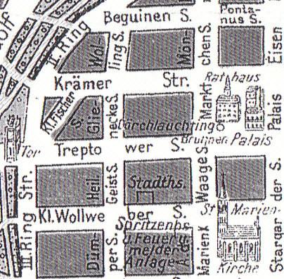 Die Kleine Fischerstraße auf einem alten Stadtplan Neubrandenburgs