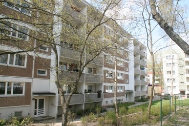 WBS 70 Block hinter Bäumen