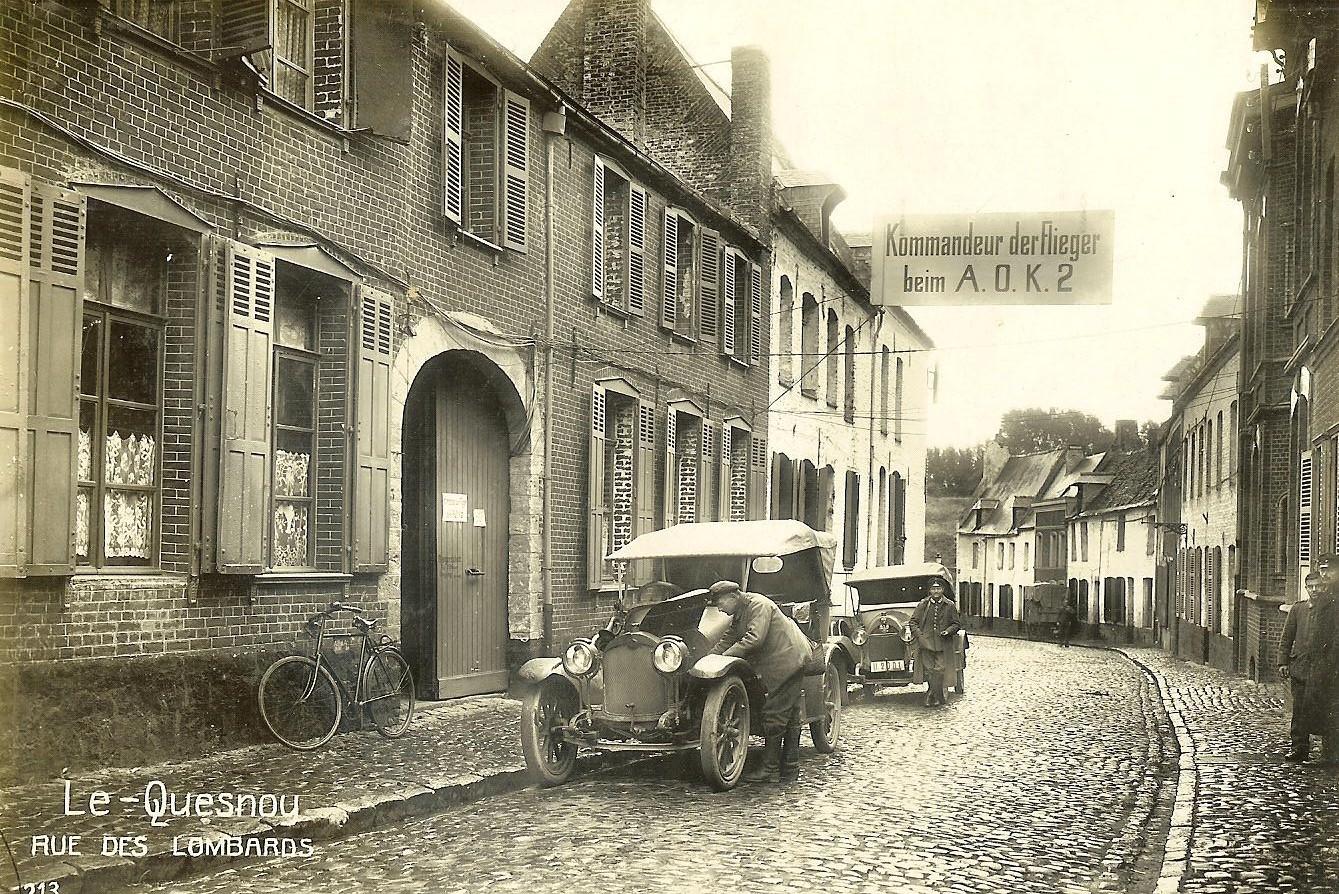 In der Rue des Lombards der unter dem Kommando von Georg Gustav von Arnim-Suckow stehenden Festung Le Quesnoy befand sich auch das Quartier der kaiserlichen Flieger des 2. Armeekorps.     Foto: Heider/Europeana