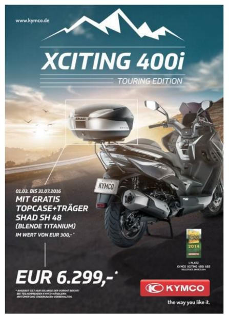 aktion kymco xciting 400 touring edition r ck moto. Black Bedroom Furniture Sets. Home Design Ideas