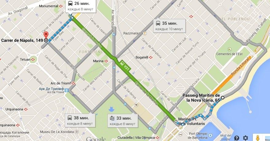 А вот более короткий и быстрый маршрут (автобус V21)