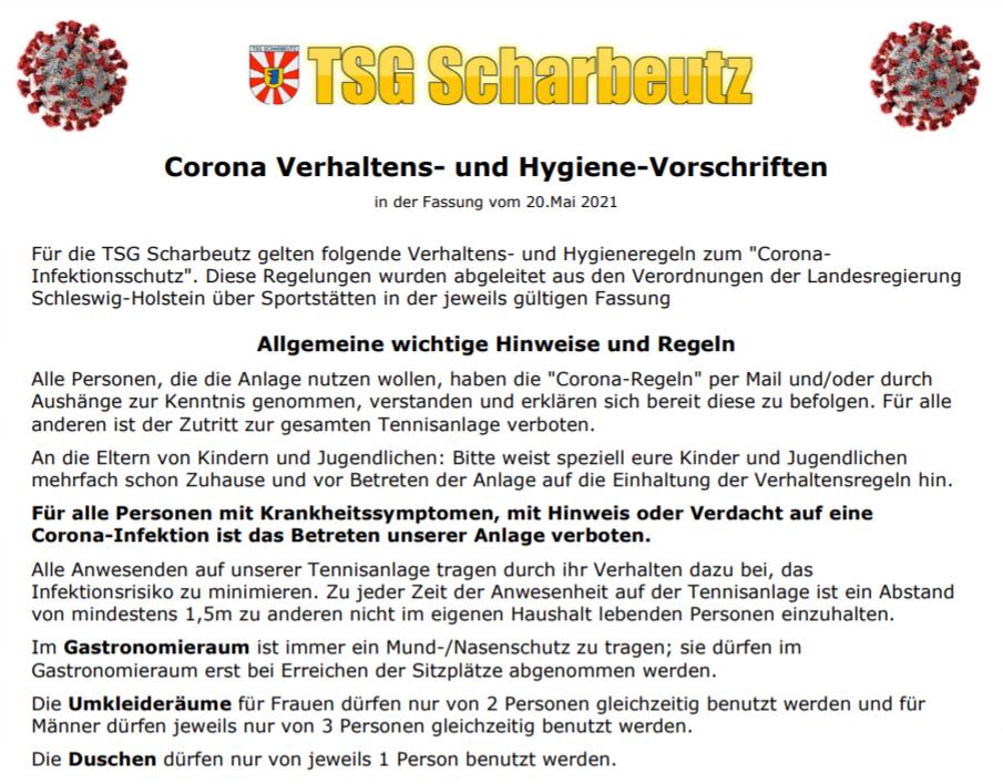 ❗️Die Corona Verhaltensweisen- und Hygiene-Vorschriften auf der TSG-Anlage
