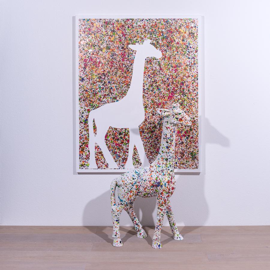 #45 herausgesprungen '19         150 x 120cm. + Skulptur