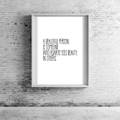 Typografie Poster, Typografie Print, Liebesprint - A beautiful Person