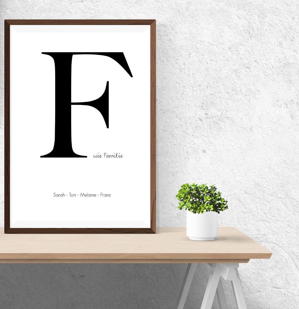 F wie familie familien poster personalisierte wandbilder f r die familie creative lifestyles - Wandbild familie ...