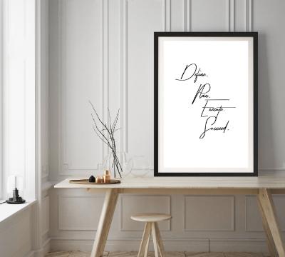 Typografie Print, Motivation - Define, Plan, Execute, Succeed
