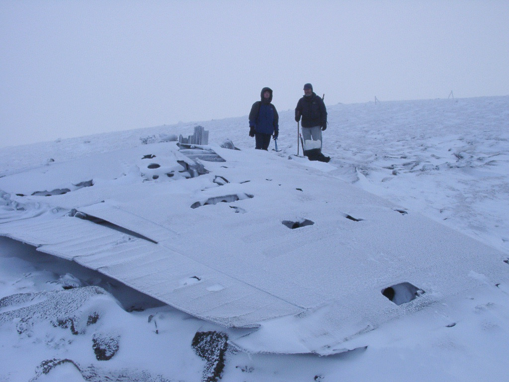 Crashed Canberra wing. Cairngorm.