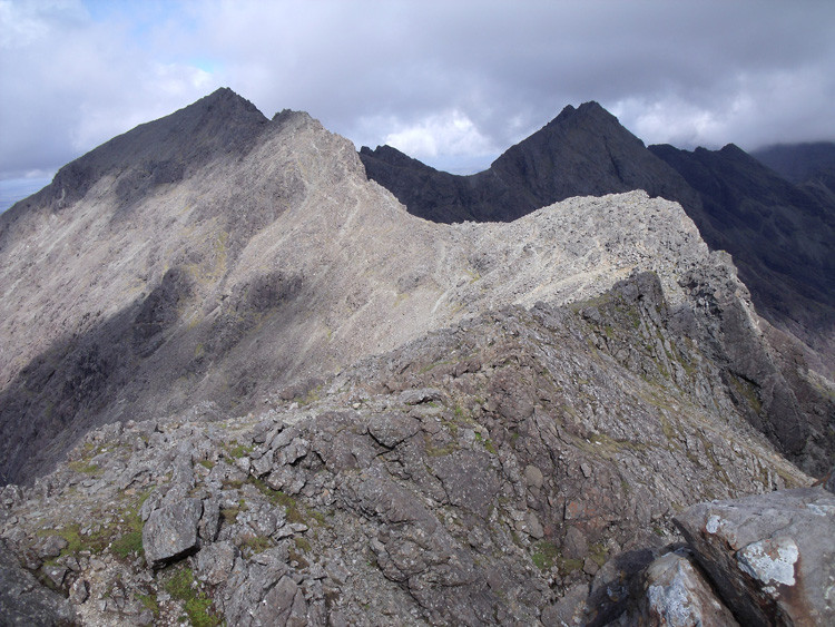 Cuillin ridge from top of bealach.