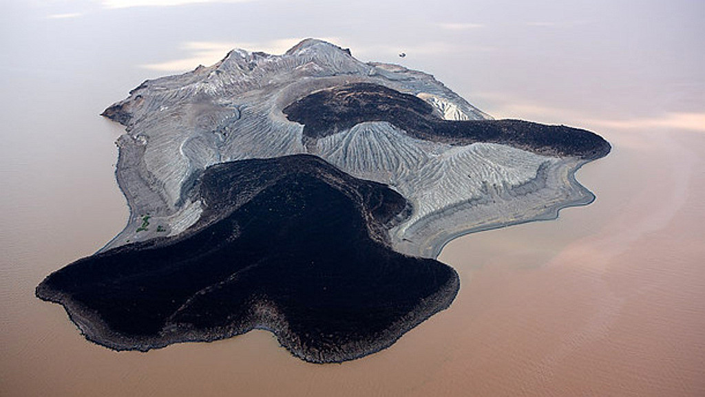 Aerial shot  North Island Lake Turkana