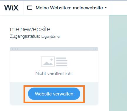 WIX Webseite verwalten