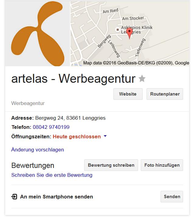 Beispiel für Google My Business anhand der artelas Werbeagentur